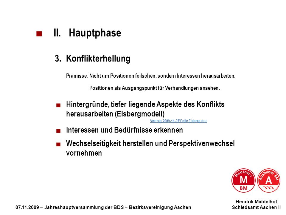 Hendrik Middelhof 07.11.2009 – Jahreshauptversammlung der BDS – Bezirksvereinigung Aachen Schiedsamt Aachen II II. Hauptphase 3.Konflikterhellung Präm