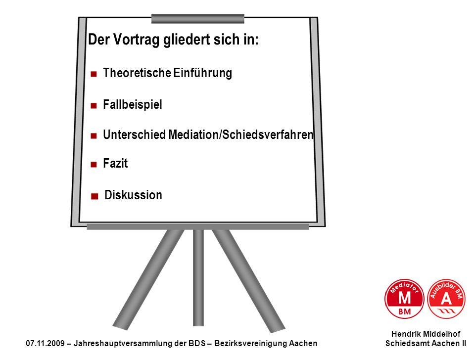 Hendrik Middelhof 07.11.2009 – Jahreshauptversammlung der BDS – Bezirksvereinigung Aachen Schiedsamt Aachen II Mediation … Der Vortrag gliedert sich i