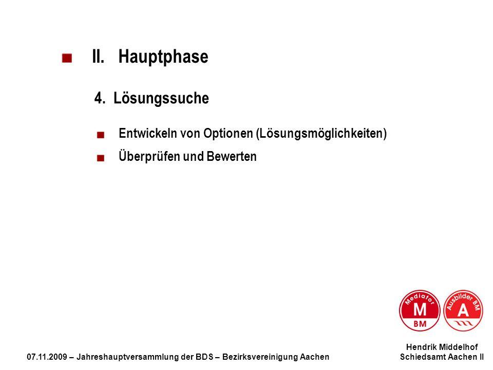 Hendrik Middelhof 07.11.2009 – Jahreshauptversammlung der BDS – Bezirksvereinigung Aachen Schiedsamt Aachen II II. Hauptphase 4. Lösungssuche Entwicke