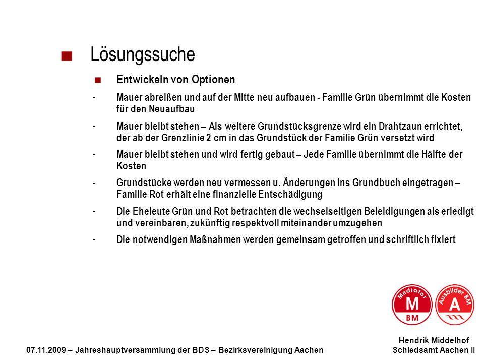 Hendrik Middelhof 07.11.2009 – Jahreshauptversammlung der BDS – Bezirksvereinigung Aachen Schiedsamt Aachen II Lösungssuche Entwickeln von Optionen -