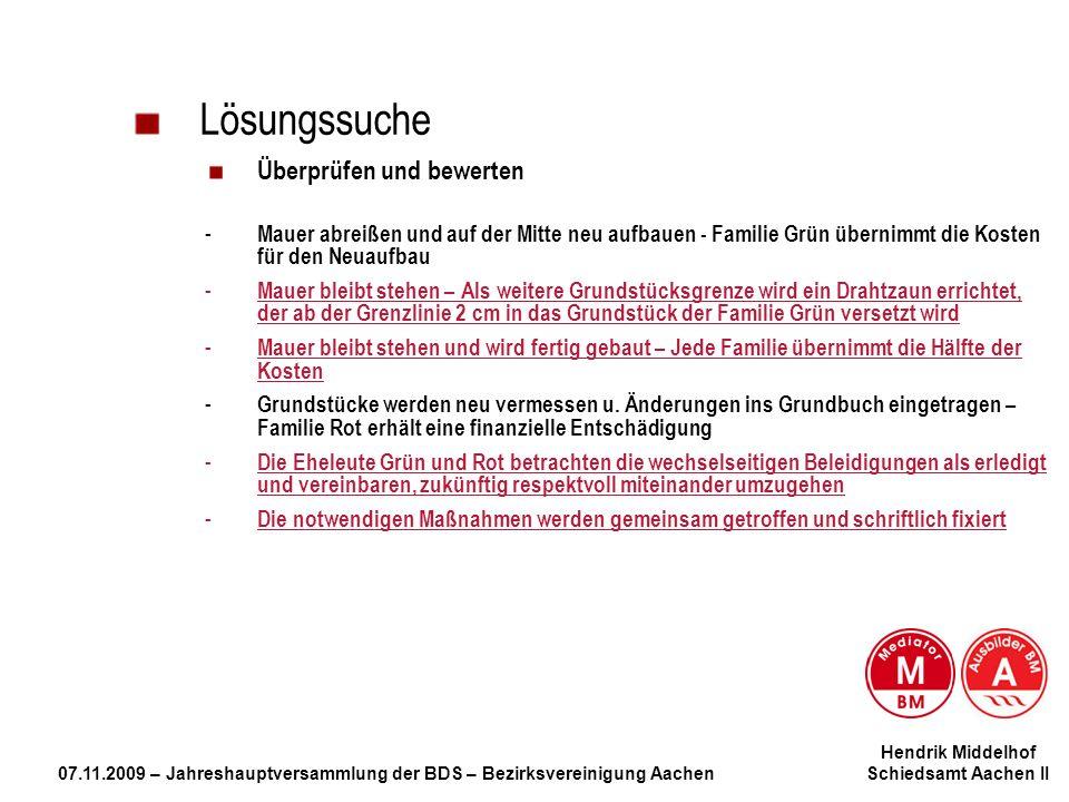 Hendrik Middelhof 07.11.2009 – Jahreshauptversammlung der BDS – Bezirksvereinigung Aachen Schiedsamt Aachen II Lösungssuche Überprüfen und bewerten -