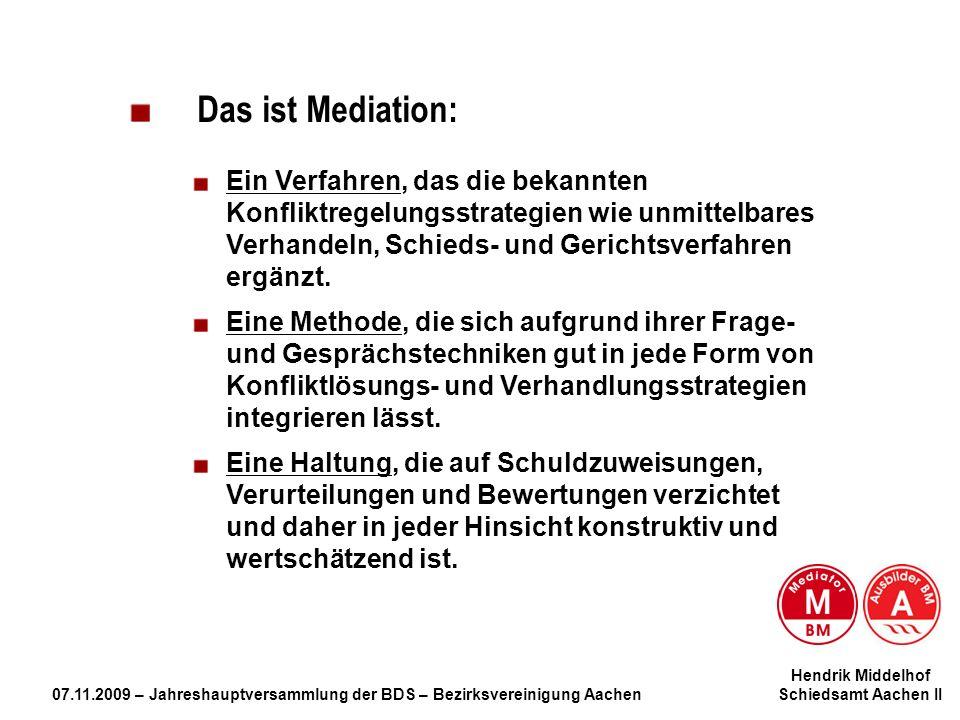 Hendrik Middelhof 07.11.2009 – Jahreshauptversammlung der BDS – Bezirksvereinigung Aachen Schiedsamt Aachen II Das ist Mediation: Ein Verfahren, das d