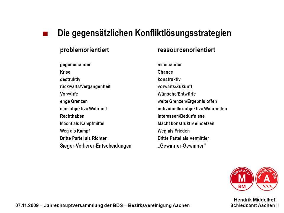 Hendrik Middelhof 07.11.2009 – Jahreshauptversammlung der BDS – Bezirksvereinigung Aachen Schiedsamt Aachen II Die gegensätzlichen Konfliktlösungsstra