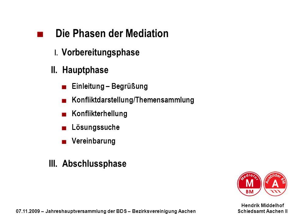 Hendrik Middelhof 07.11.2009 – Jahreshauptversammlung der BDS – Bezirksvereinigung Aachen Schiedsamt Aachen II Die Phasen der Mediation I. Vorbereitun