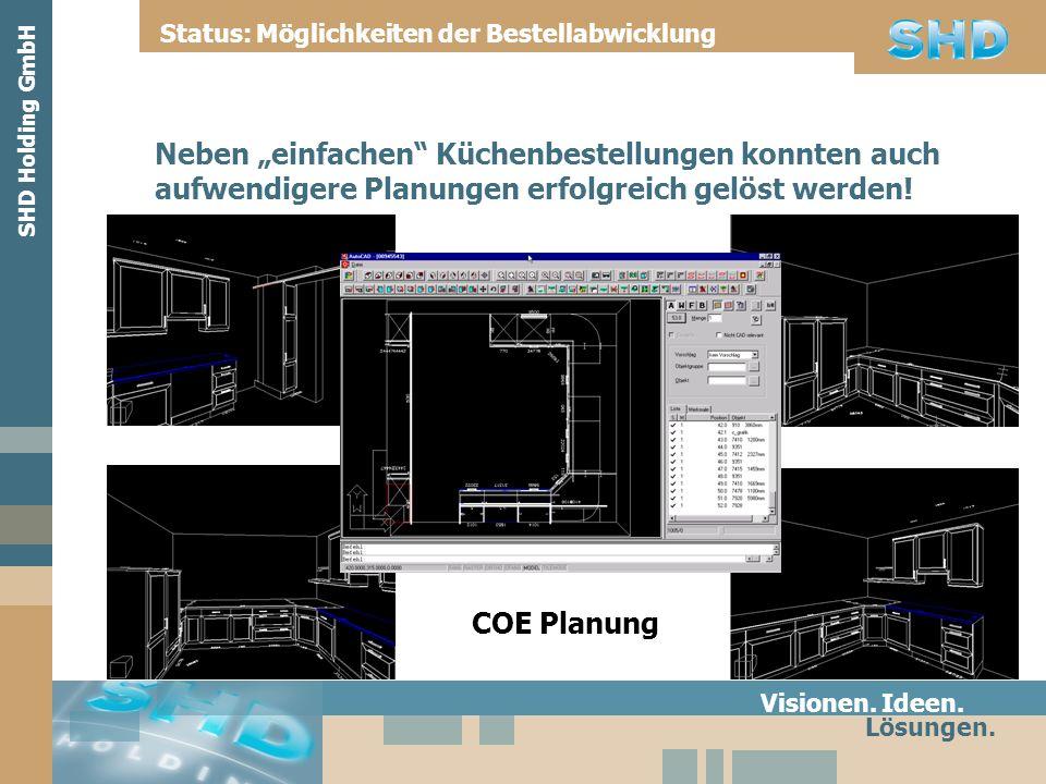 Visionen. Ideen. Lösungen. Status: Möglichkeiten der Bestellabwicklung SHD Holding GmbH COE Planung Neben einfachen Küchenbestellungen konnten auch au