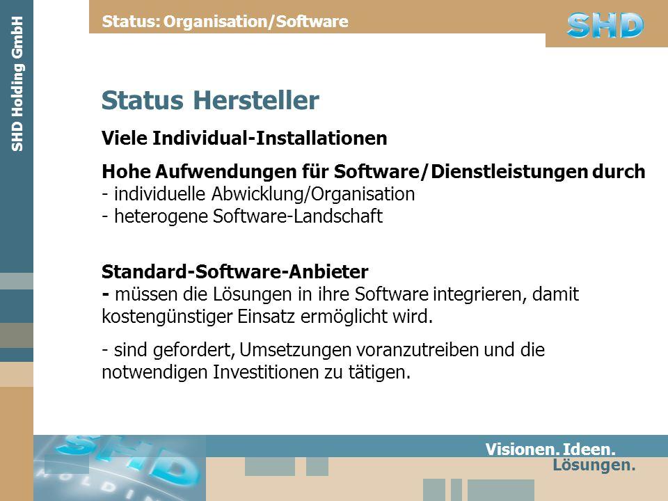 Status Hersteller Viele Individual-Installationen Hohe Aufwendungen für Software/Dienstleistungen durch - individuelle Abwicklung/Organisation - heter
