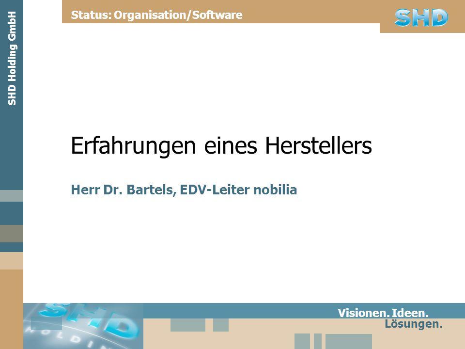 Erfahrungen eines Herstellers Herr Dr. Bartels, EDV-Leiter nobilia Visionen. Ideen. Lösungen. Status: Organisation/Software SHD Holding GmbH