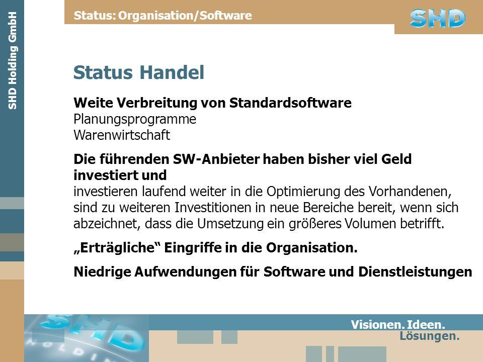 Weite Verbreitung von Standardsoftware Planungsprogramme Warenwirtschaft Die führenden SW-Anbieter haben bisher viel Geld investiert und investieren l