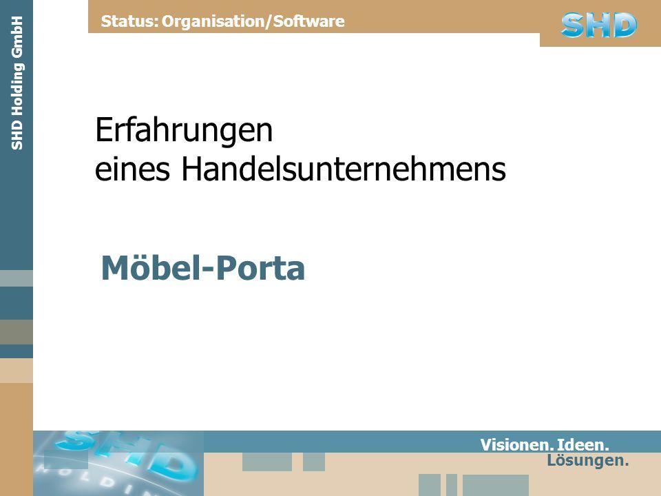 Erfahrungen eines Handelsunternehmens Möbel-Porta Visionen. Ideen. Lösungen. Status: Organisation/Software SHD Holding GmbH