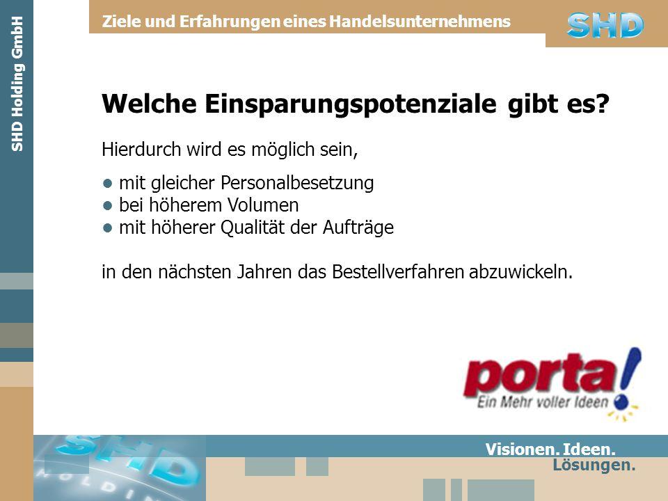 Welche Einsparungspotenziale gibt es? Visionen. Ideen. Lösungen. SHD Holding GmbH Ziele und Erfahrungen eines Handelsunternehmens Hierdurch wird es mö