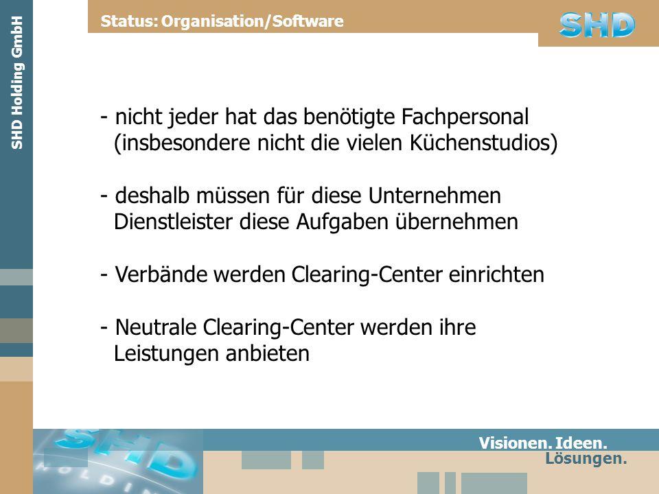 Fazit Visionen. Ideen. Lösungen. Status: Organisation/Software SHD Holding GmbH
