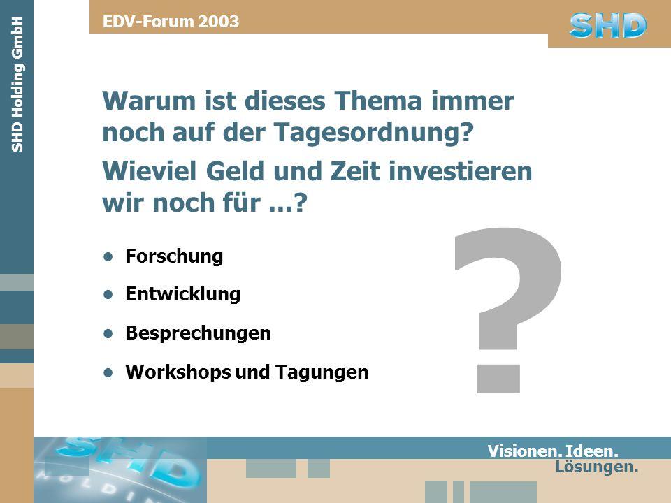 Warum ist dieses Thema immer noch auf der Tagesordnung? Visionen. Ideen. Lösungen. SHD Holding GmbH EDV-Forum 2003 Forschung Wieviel Geld und Zeit inv