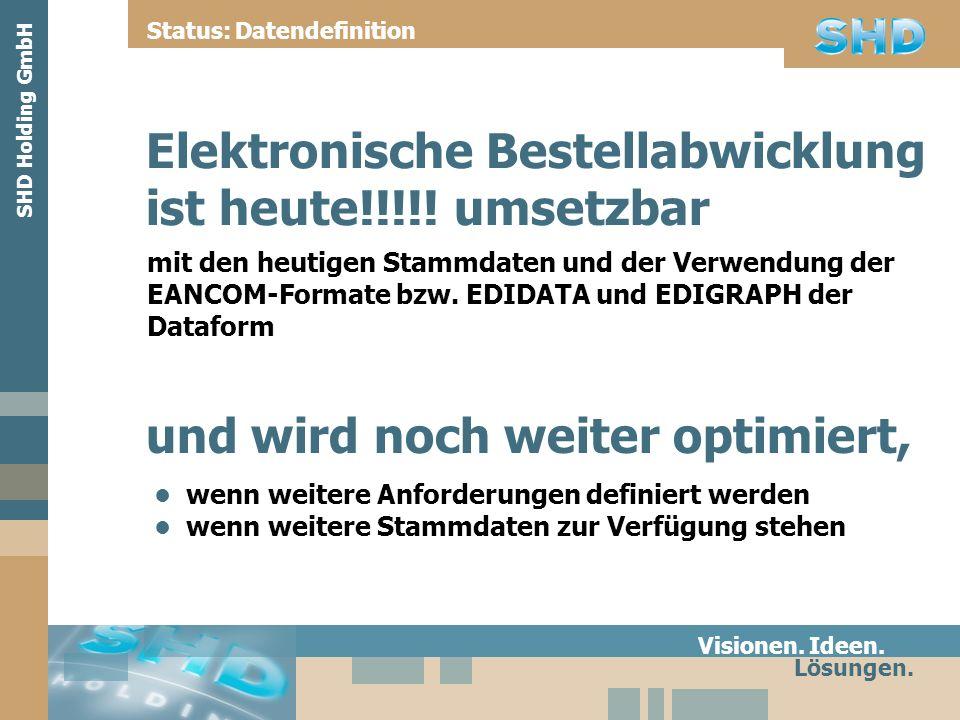 Elektronische Bestellabwicklung ist heute!!!!! umsetzbar mit den heutigen Stammdaten und der Verwendung der EANCOM-Formate bzw. EDIDATA und EDIGRAPH d