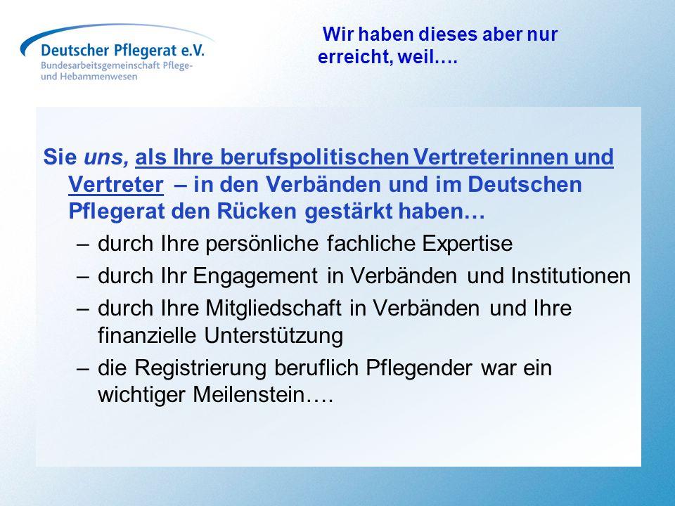 Sie uns, als Ihre berufspolitischen Vertreterinnen und Vertreter – in den Verbänden und im Deutschen Pflegerat den Rücken gestärkt haben… –durch Ihre