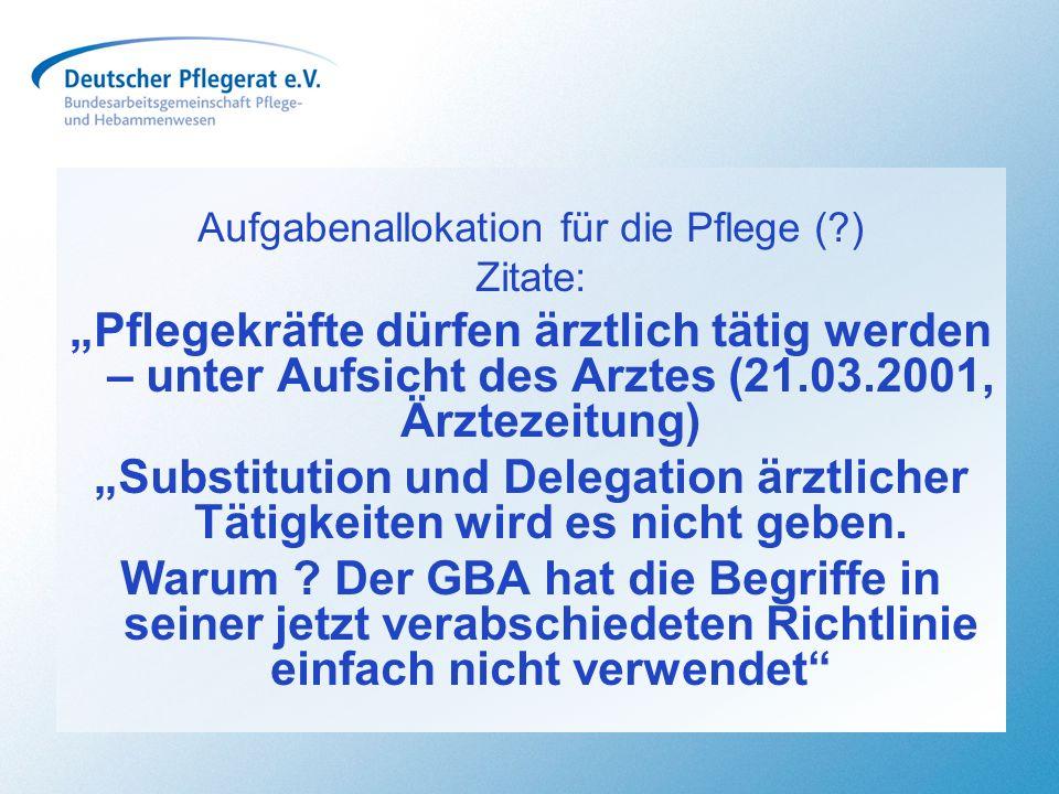 Aufgabenallokation für die Pflege (?) Zitate: Pflegekräfte dürfen ärztlich tätig werden – unter Aufsicht des Arztes (21.03.2001, Ärztezeitung) Substit