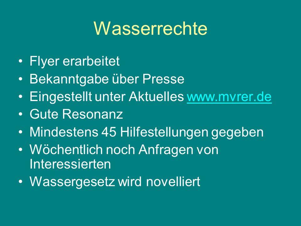 Wasserrechte Flyer erarbeitet Bekanntgabe über Presse Eingestellt unter Aktuelles www.mvrer.dewww.mvrer.de Gute Resonanz Mindestens 45 Hilfestellungen