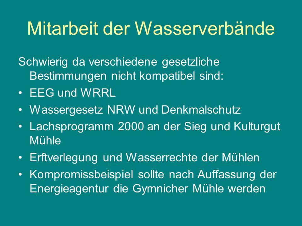 Mitarbeit der Wasserverbände Schwierig da verschiedene gesetzliche Bestimmungen nicht kompatibel sind: EEG und WRRL Wassergesetz NRW und Denkmalschutz