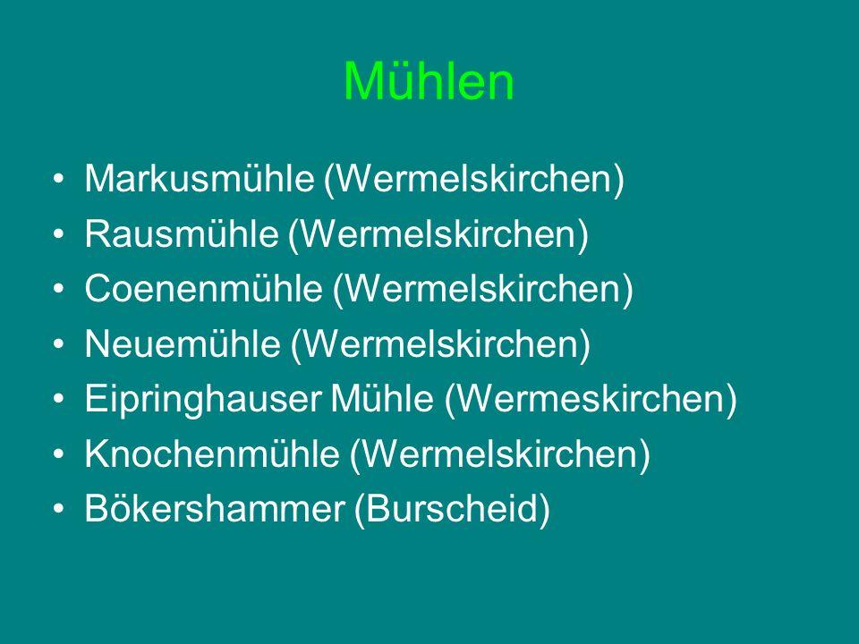 Mühlen Markusmühle (Wermelskirchen) Rausmühle (Wermelskirchen) Coenenmühle (Wermelskirchen) Neuemühle (Wermelskirchen) Eipringhauser Mühle (Wermeskirc