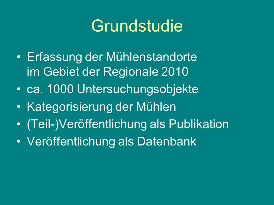 Erfassung der Mühlenstandorte im Gebiet der Regionale 2010 ca. 1000 Untersuchungsobjekte Kategorisierung der Mühlen (Teil-)Veröffentlichung als Publik