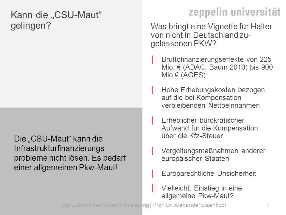 Zur Zukunft der Nutzerfinanzierung | Prof.Dr.