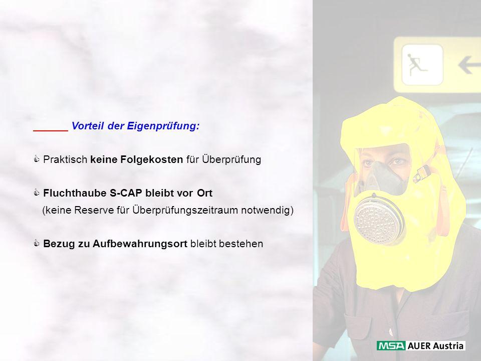 Vorteil der Eigenprüfung: Praktisch keine Folgekosten für Überprüfung Fluchthaube S-CAP bleibt vor Ort (keine Reserve für Überprüfungszeitraum notwend