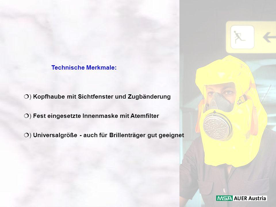 Technische Merkmale: ) Kopfhaube mit Sichtfenster und Zugbänderung ) Fest eingesetzte Innenmaske mit Atemfilter ) Universalgröße - auch für Brillenträ
