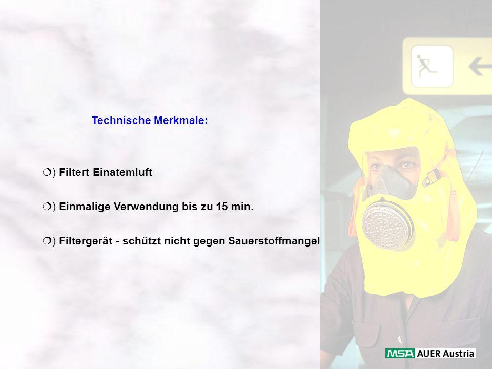 Technische Merkmale: ) Filtert Einatemluft ) Einmalige Verwendung bis zu 15 min. ) Filtergerät - schützt nicht gegen Sauerstoffmangel