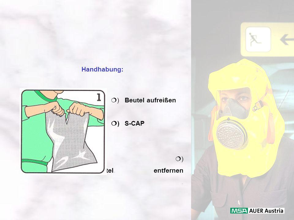 Handhabung: ) Beutel aufreißen ) S-CAP entnehmen ) Trockenmittelbeutel. entfernen.