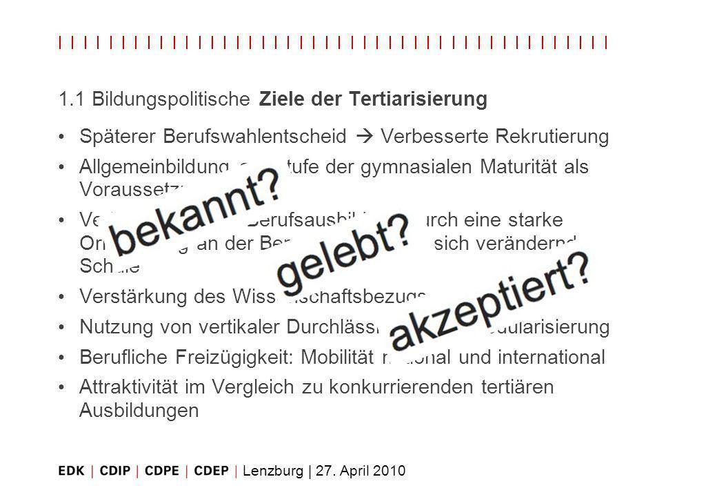 Lenzburg | 27. April 2010 1.1 Bildungspolitische Ziele der Tertiarisierung Späterer Berufswahlentscheid Verbesserte Rekrutierung Allgemeinbildung auf