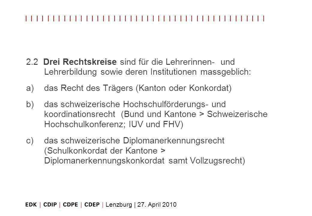 Lenzburg | 27. April 2010 2.2 Drei Rechtskreise sind für die Lehrerinnen- und Lehrerbildung sowie deren Institutionen massgeblich: a)das Recht des Trä