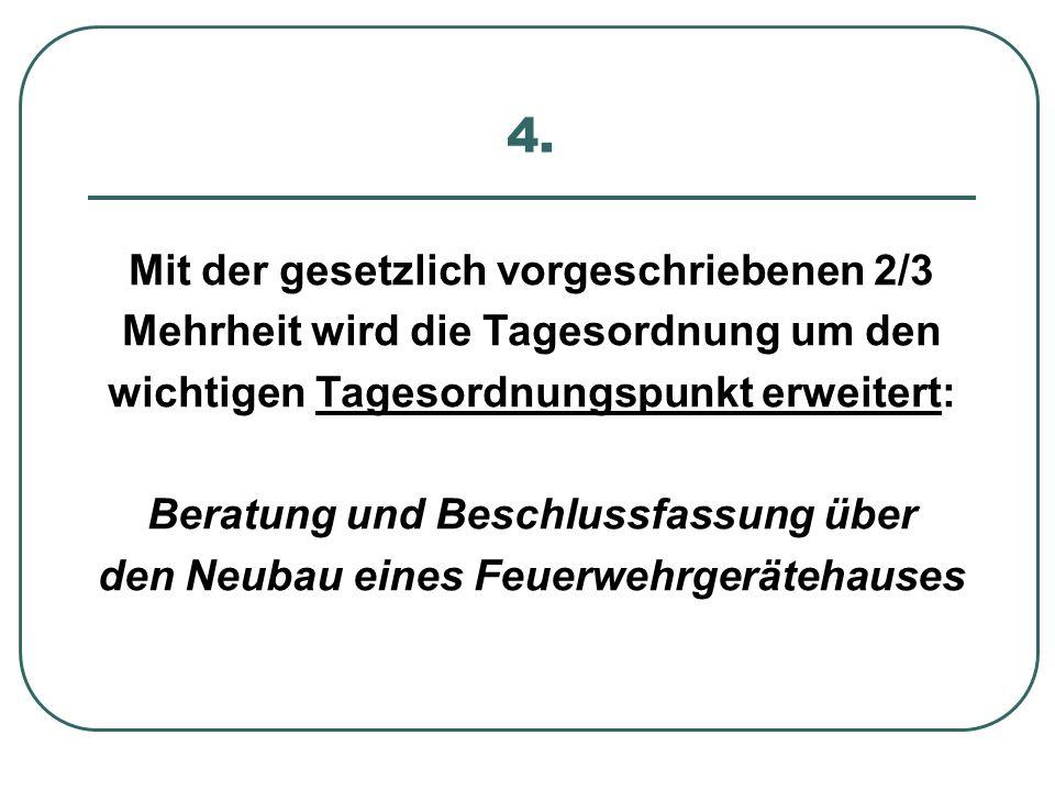 4. Mit der gesetzlich vorgeschriebenen 2/3 Mehrheit wird die Tagesordnung um den wichtigen Tagesordnungspunkt erweitert: Beratung und Beschlussfassung