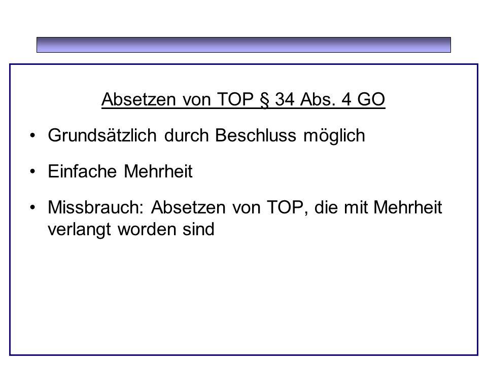 Absetzen von TOP § 34 Abs.