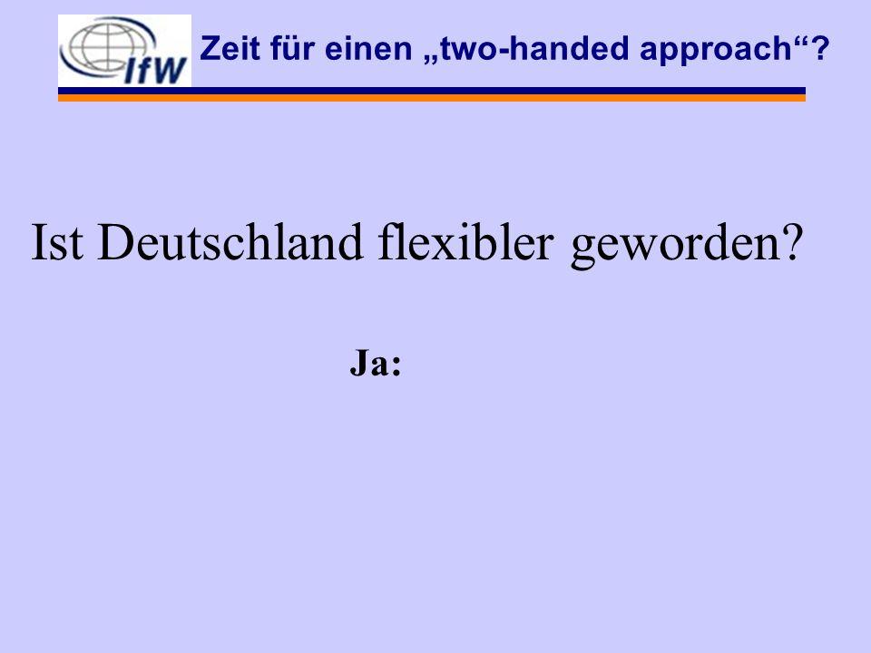 Zeit für einen two-handed approach Ist Deutschland flexibler geworden Ja: