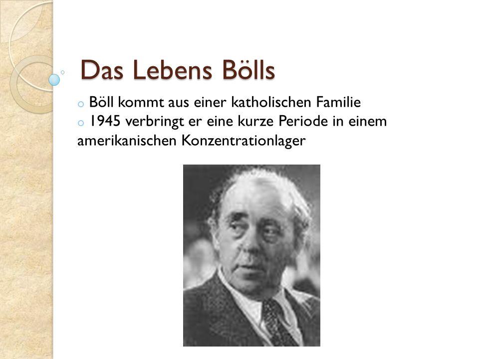 seit 1951 wird Böll freier Schriftsteller in den 60er Jahren wird Böll kritischer Demokrat 1972 erhält er den Nobelpreis für Literatur er wird Präsident des Pen-Clubs bis zu seinem Tode(1985) schreibt Böll Erzählungen, Romane, Essays und Reden