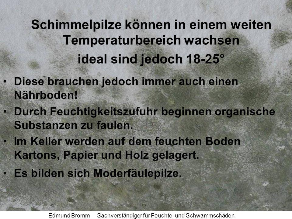 Edmund Bromm Sachverständiger für Feuchte- und Schwammschäden Schimmelpilze können in einem weiten Temperaturbereich wachsen ideal sind jedoch 18-25° Diese brauchen jedoch immer auch einen Nährboden.