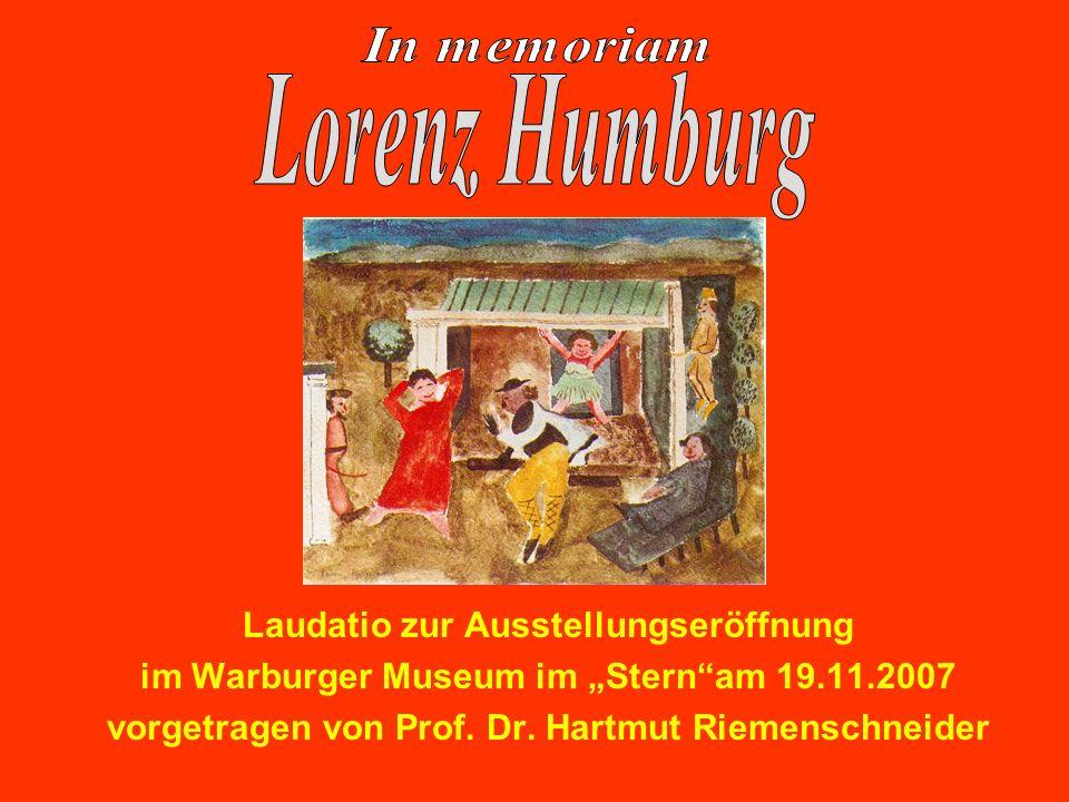 Laudatio zur Ausstellungseröffnung im Warburger Museum im Sternam 19.11.2007 vorgetragen von Prof. Dr. Hartmut Riemenschneider