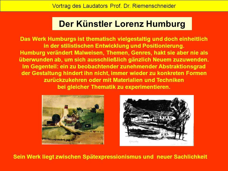 Das Werk Humburgs ist thematisch vielgestaltig und doch einheitlich in der stilistischen Entwicklung und Positionierung. Humburg verändert Malweisen,