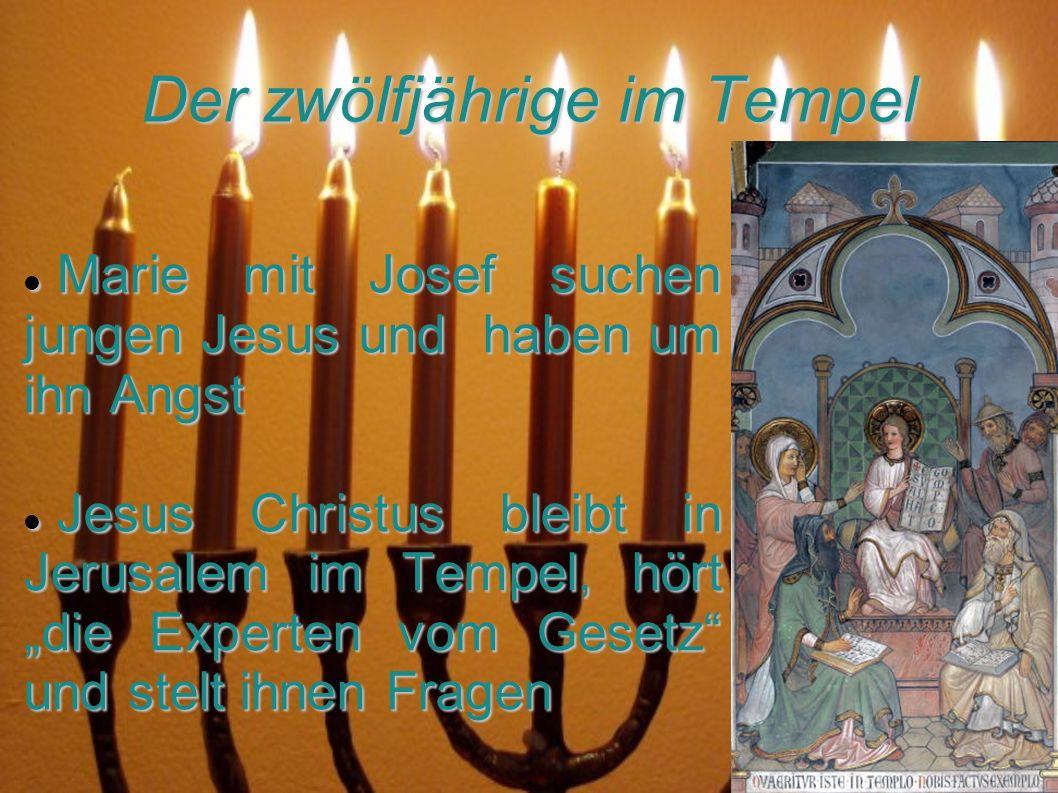 Der zwölfjährige im Tempel Marie mit Josef suchen jungen Jesus und haben um ihn Angst Marie mit Josef suchen jungen Jesus und haben um ihn Angst Jesus