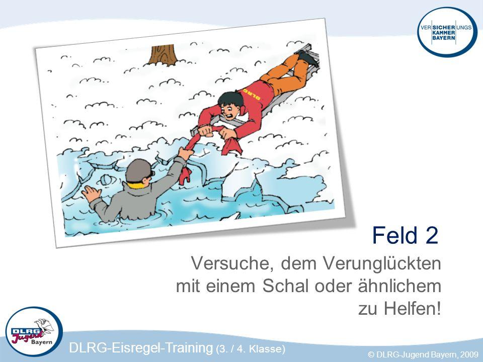 DLRG-Eisregel-Training (3. / 4. Klasse) © DLRG-Jugend Bayern, 2009 Feld 2 Versuche, dem Verunglückten mit einem Schal oder ähnlichem zu Helfen!