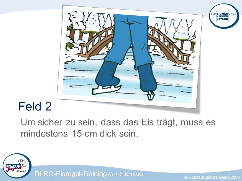 DLRG-Eisregel-Training (3. / 4. Klasse) © DLRG-Jugend Bayern, 2009 Feld 2 Um sicher zu sein, dass das Eis trägt, muss es mindestens 15 cm dick sein.