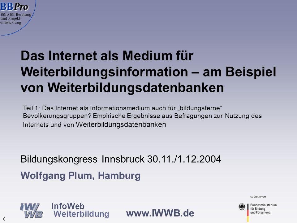 www.IWWB.de 0 InfoWeb Weiterbildung Wolfgang Plum, Hamburg Das Internet als Medium für Weiterbildungsinformation – am Beispiel von Weiterbildungsdaten