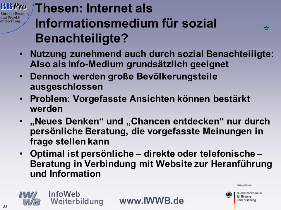 www.IWWB.de 33 InfoWeb Weiterbildung Nutzung zunehmend auch durch sozial Benachteiligte: Also als Info-Medium grundsätzlich geeignet Dennoch werden gr