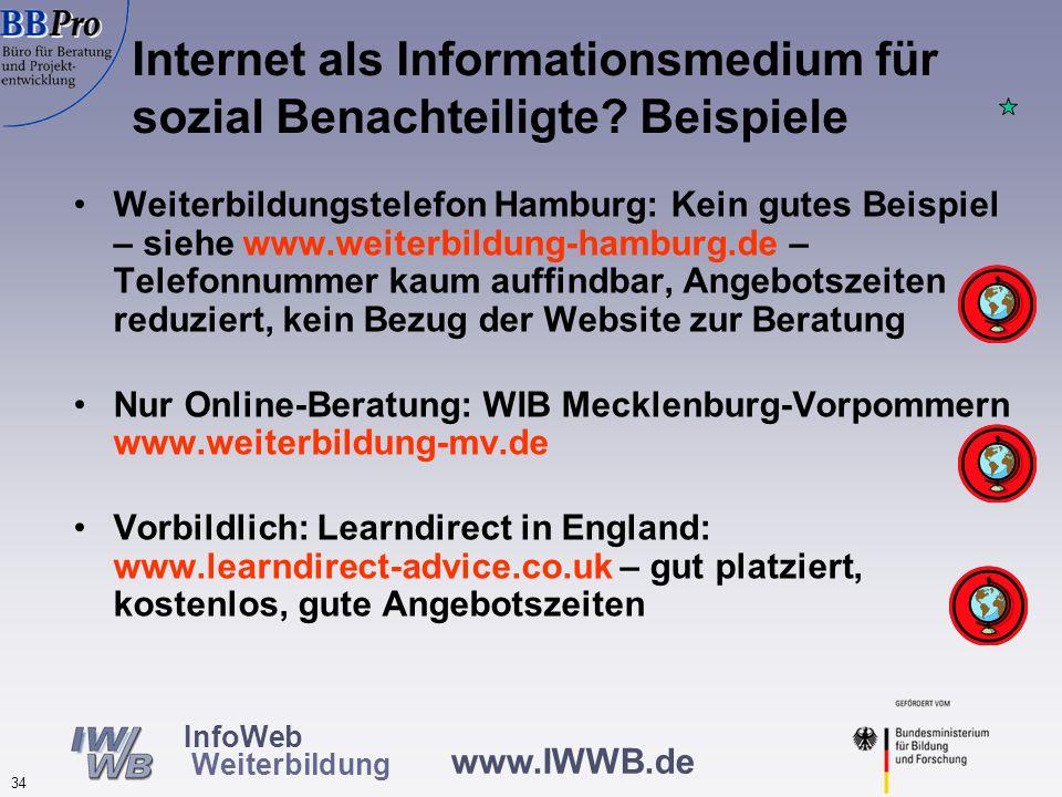 www.IWWB.de 34 InfoWeb Weiterbildung Weiterbildungstelefon Hamburg: Kein gutes Beispiel – siehe www.weiterbildung-hamburg.de – Telefonnummer kaum auff