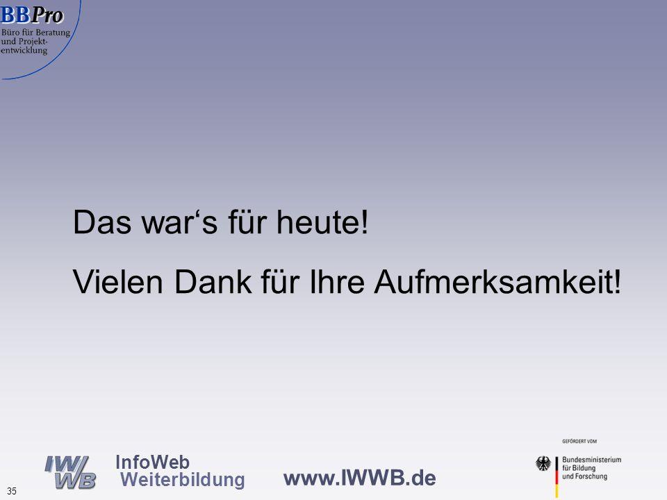 www.IWWB.de 35 InfoWeb Weiterbildung Das wars für heute! Vielen Dank für Ihre Aufmerksamkeit!