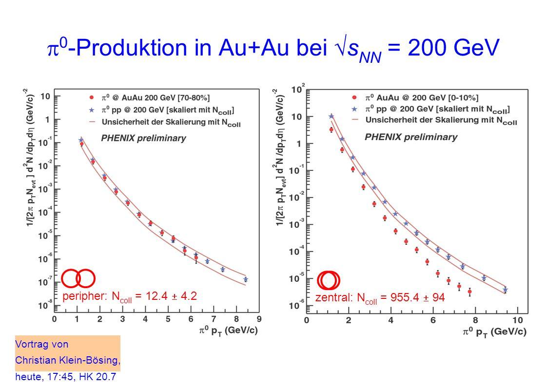 0 -Produktion in Au+Au bei s NN = 200 GeV peripher: N coll = 12.4 4.2 zentral: N coll = 955.4 94 Vortrag von Christian Klein-Bösing, heute, 17:45, HK