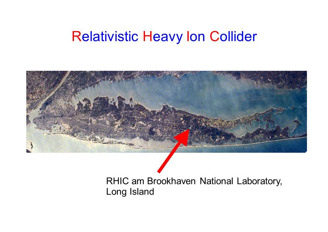 RHIC: Relativistic Heavy Ion Collider Umfang: 3,83 km 2 unabhängige Ringe 6 Kreuzungspunkte, 4 Experimente: Maximale Energie im Nukleon- Nukleon Schwerpunktsystem 200 GeV für Gold-Gold 500 GeV für p+p Strahlzeiten: Run 1 (2000): Au+Au, s NN =130 GeV Run 2 (2001-2002): Au+Au, p+p, s NN = 200 GeV Run 3 (2003): d+Au, p+p, s NN = 200 GeV