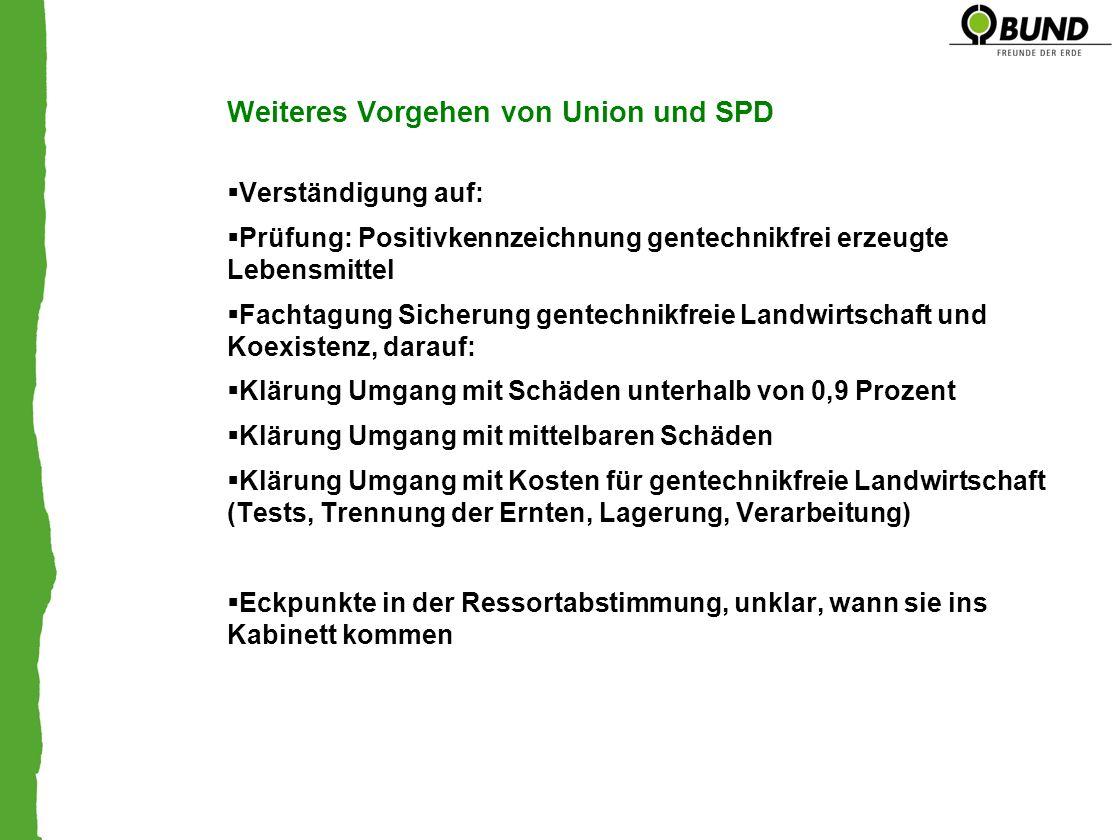 Weiteres Vorgehen von Union und SPD Verständigung auf: Prüfung: Positivkennzeichnung gentechnikfrei erzeugte Lebensmittel Fachtagung Sicherung gentech
