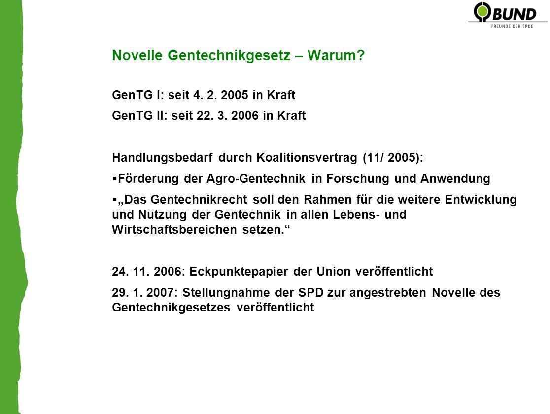 Novelle Gentechnikgesetz – Warum? GenTG I: seit 4. 2. 2005 in Kraft GenTG II: seit 22. 3. 2006 in Kraft Handlungsbedarf durch Koalitionsvertrag (11/ 2