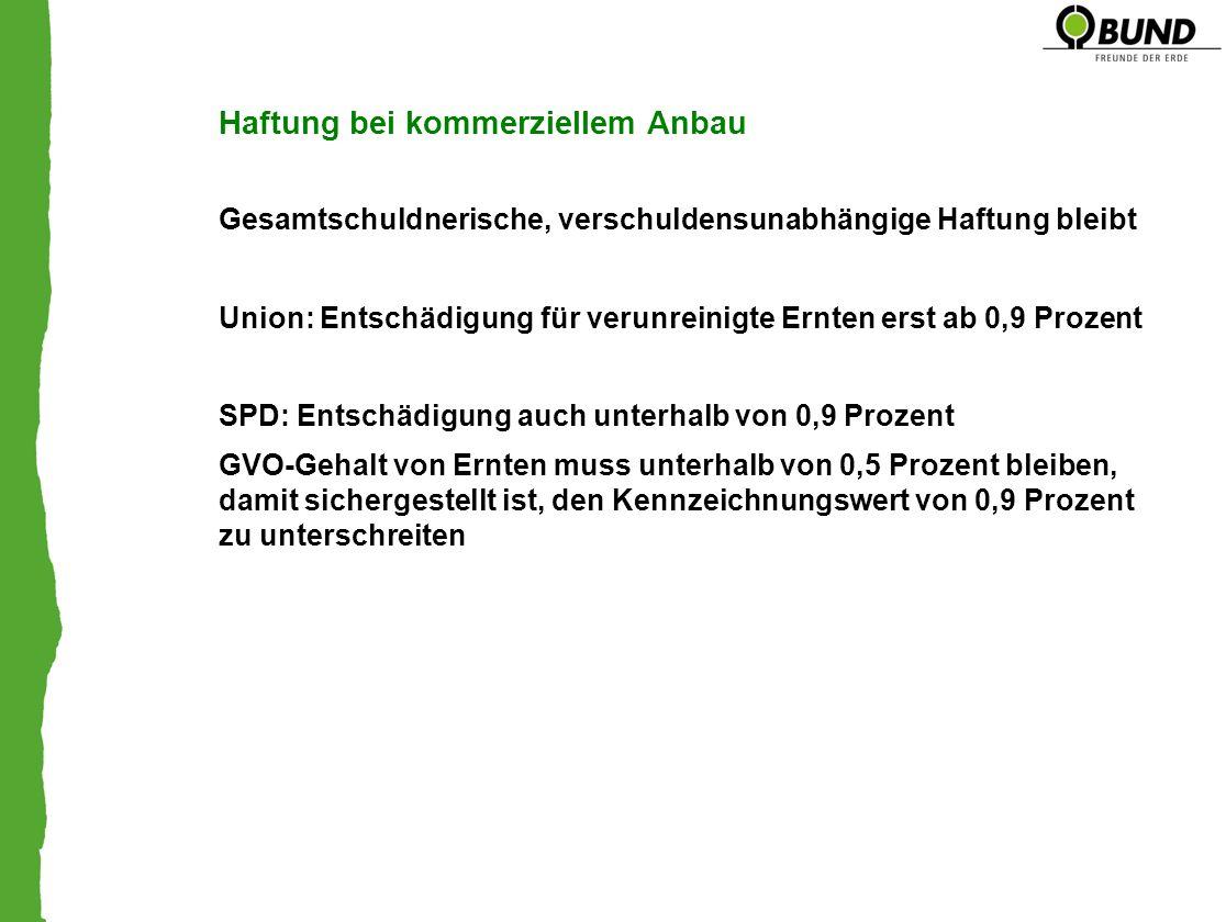 Haftung bei kommerziellem Anbau Gesamtschuldnerische, verschuldensunabhängige Haftung bleibt Union: Entschädigung für verunreinigte Ernten erst ab 0,9