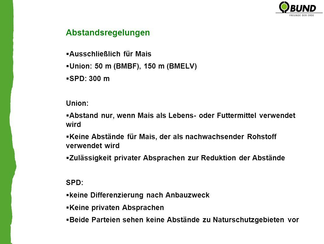 Abstandsregelungen Ausschließlich für Mais Union: 50 m (BMBF), 150 m (BMELV) SPD: 300 m Union: Abstand nur, wenn Mais als Lebens- oder Futtermittel ve